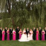 Bridal Party Pose by Old Willow Tree